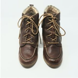 Sperry Wedge Brown Boots with Plaid Accent sz 9M
